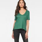 G-Star RAW® Raw Correct Ovvela Straight Deep-V 1/2-Sleeve T-Shirt Green model front