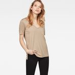 G-Star RAW® Ovvela Straight Deep V-Neck T-Shirt Beige model front