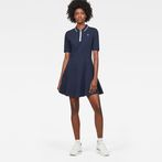 G-Star RAW® Raw Correct Polo 1/2-Sleeve Flare Dress Dark blue model front
