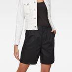 G-Star RAW® Bronson High Waist waist Loose Pleated Bermuda Shorts Black front flat