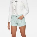 G-Star RAW® Arc Mid waist Ripped Shorts Light blue front flat