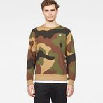G-Star RAW® Oversized  Dutch Camo Stalt Deconstructed Sweater Green model front