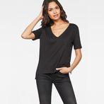 G-Star RAW® Raw Correct Ovvela Straight Deep-V 1/2-Sleeve T-Shirt Black model front