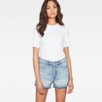 G-Star RAW® Arc High waist Boyfriend Ripped Shorts Light blue front flat