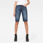 G-Star RAW® 3301 High waist Straight Ripped Shorts Dark blue front flat