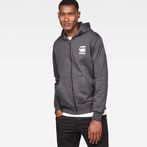 G-Star RAW® Doax Hooded Zip Thru Sweater Grey model front