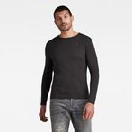 G-Star RAW® Base Round Neck Long Sleeve T-Shirt Black model front