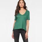 G-Star RAW® Raw Correct Ovvela Straight Deep-V 1/2-Sleeve T-Shirt Green model front