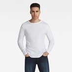 G-Star RAW® Base Round Neck Long Sleeve T-Shirt White model front