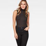 G-Star RAW® Deline Slim Funnel Sleeveless T-Shirt Black model front