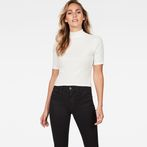G-Star RAW® Silber Funnel Cropped T-Shirt Beige model front