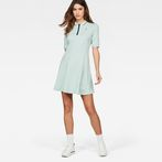 G-Star RAW® Raw Correct Polo 1/2-Sleeve Flare Dress Light blue model front