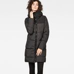 G-Star RAW® Whistler Hooded Quilted Slim Long Coat Black model front