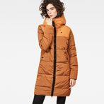 G-Star RAW® Whistler Hooded Quilted Slim Long Coat Orange model front