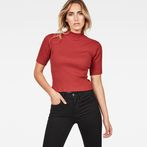G-Star RAW® Silber Funnel Cropped T-Shirt Red model front