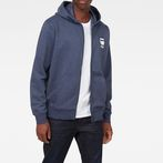G-Star RAW® Doax Hooded Zip Thru Sweater Dark blue model front