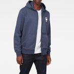 G-Star RAW® Doax Hooded Zip Thru Sweater Dark blue model front