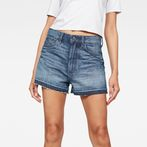 G-Star RAW® Arc High waist Boyfriend Ripped Shorts Medium blue front flat