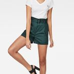 G-Star RAW® Rovic High waist Paperbag Shorts Green model front