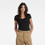 G-Star RAW® Base V-Neck Cap Sleeve T-Shirt Black model front