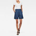 G-Star RAW® Bristum Pleated High waist Bermuda Shorts Dark blue model front