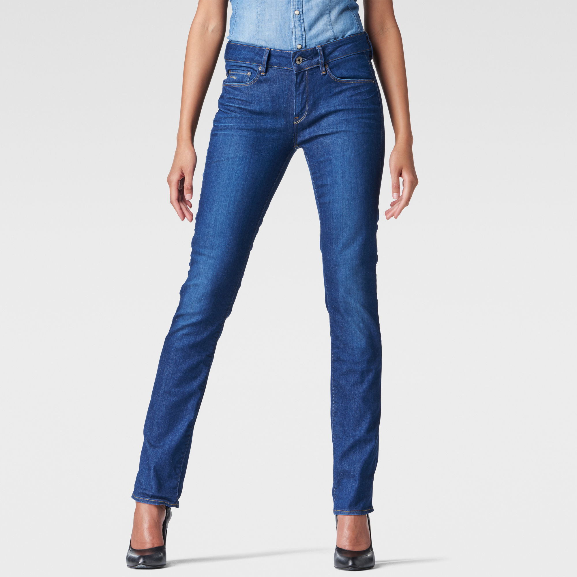 Image of G Star Raw 3301 Contour High Waist Straight Jeans