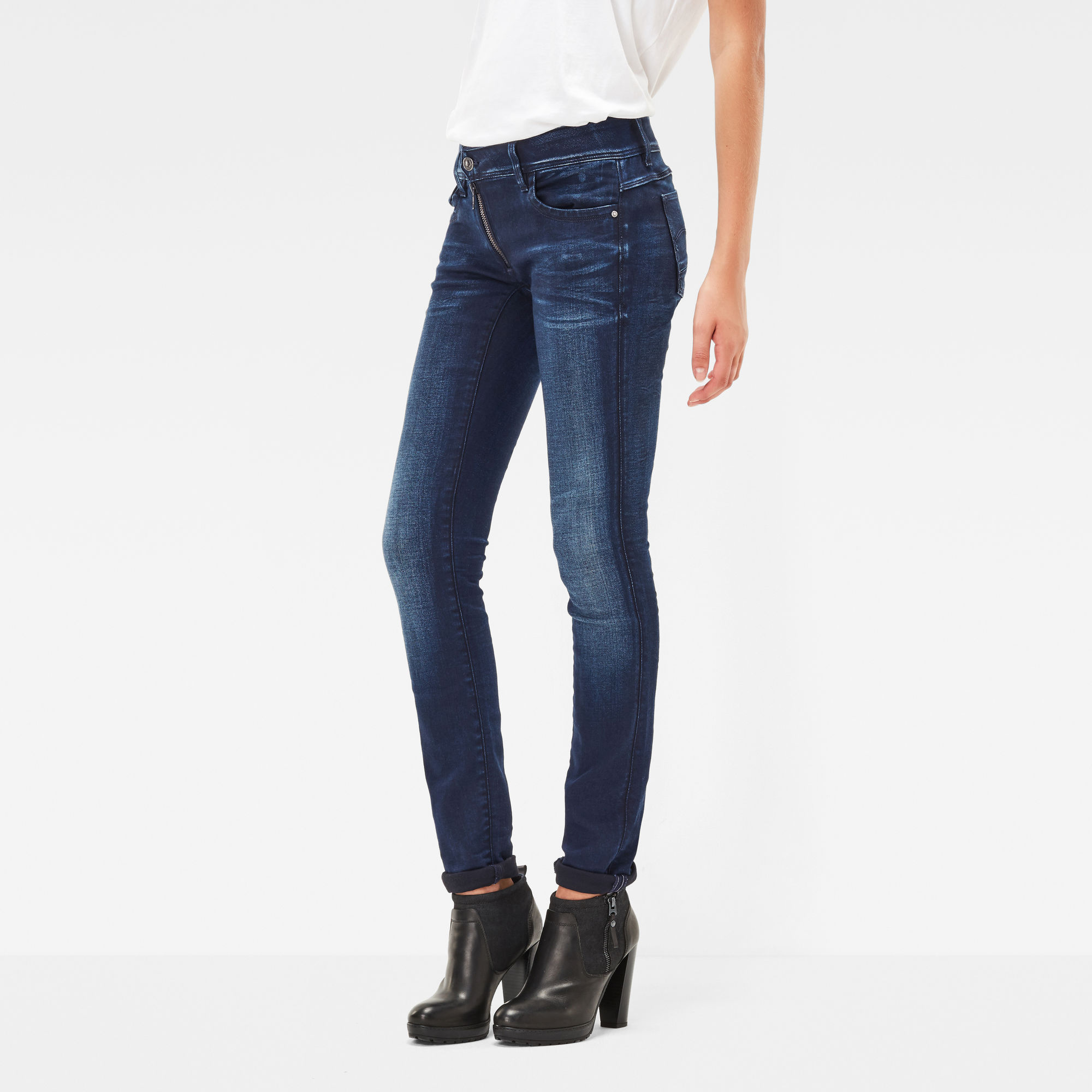 Image of G Star Raw Lynn Zip Mid Waist Skinny Jeans