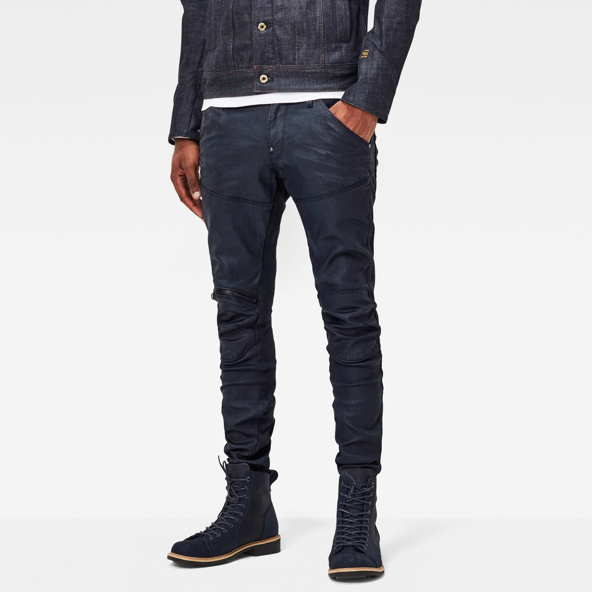 5620 G-Star Elwood 3D Knee-Zip Super Slim Jeans