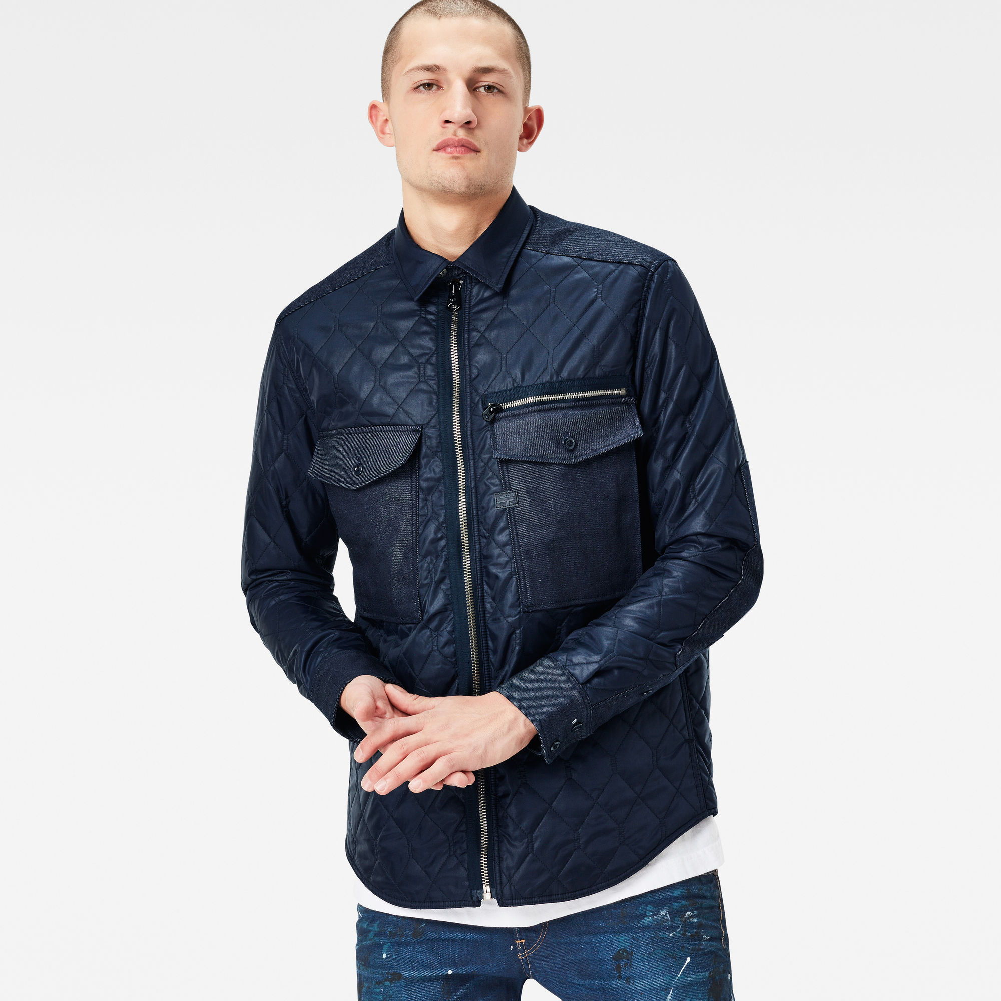 Type C Denim Quilted Slim Overshirt