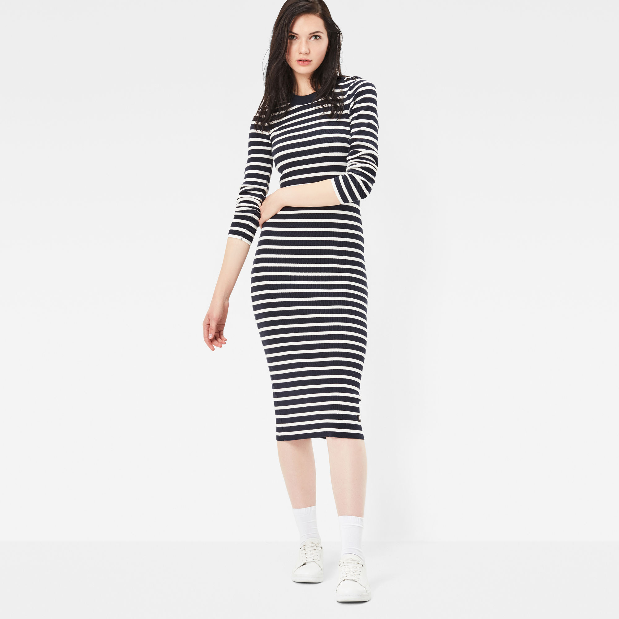 Exly Slim Stripe Knit Dress