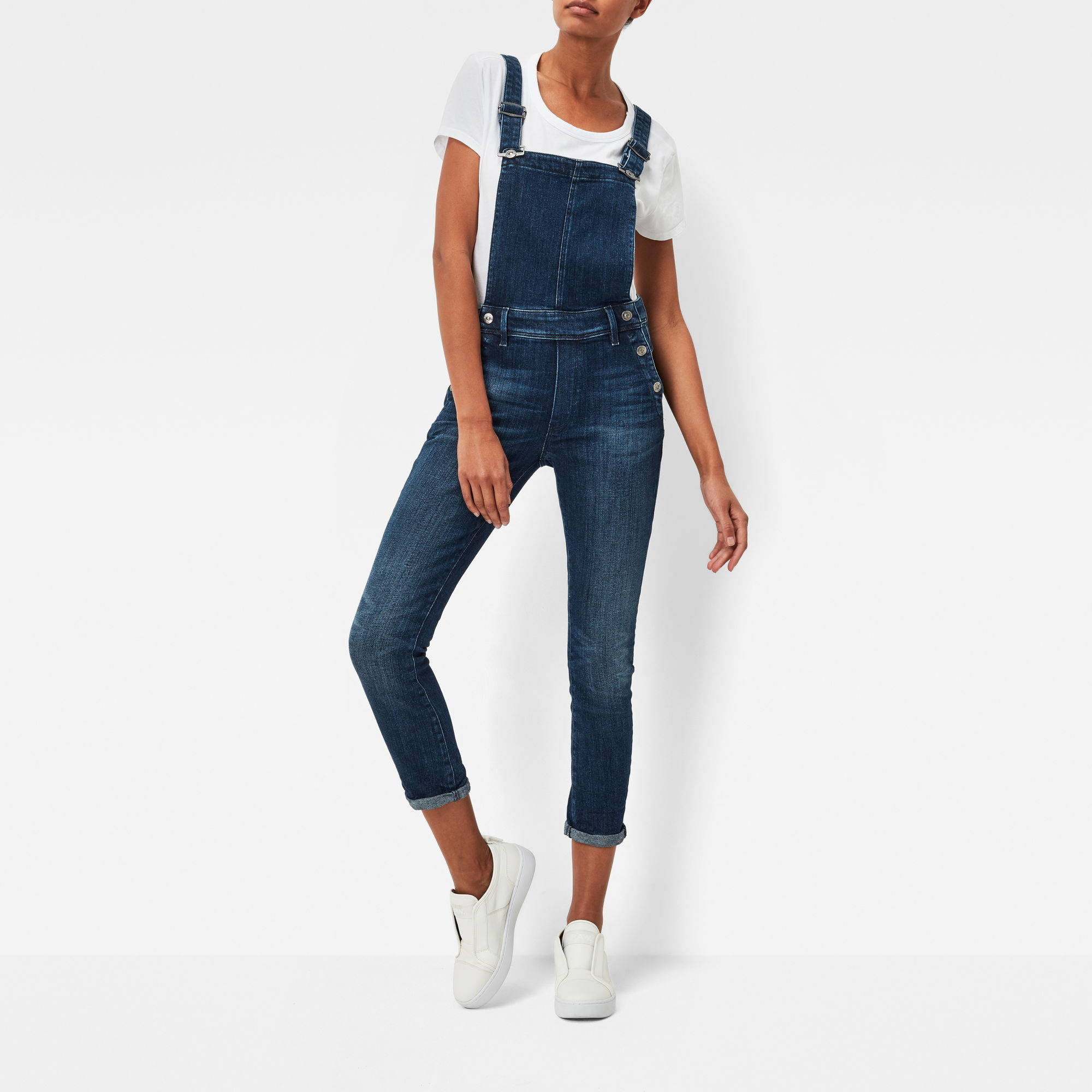 Lynn High Waist Slim Navy Overalls