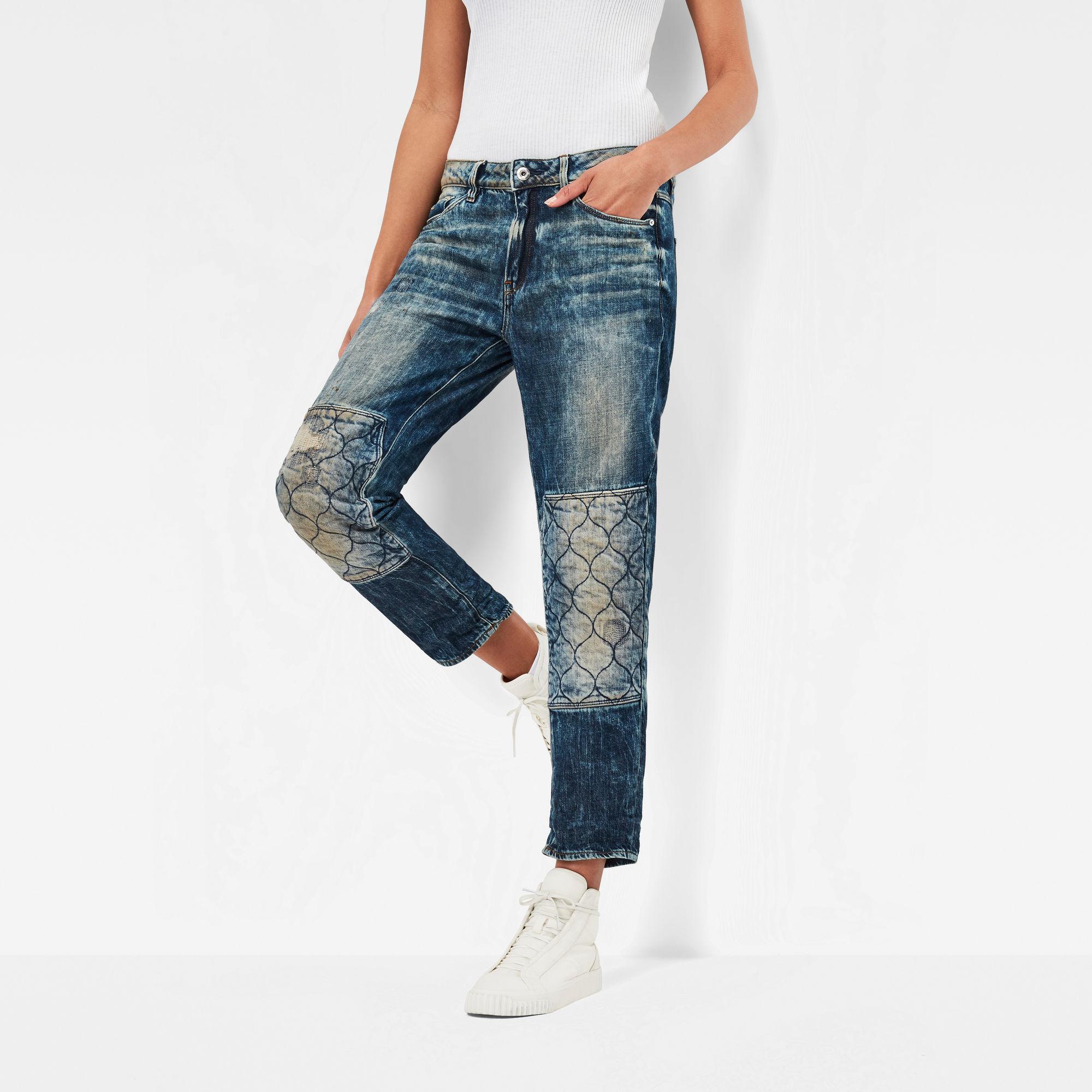 3301 Quilted Denim Mid Waist Boyfriend 7 8 Jeans