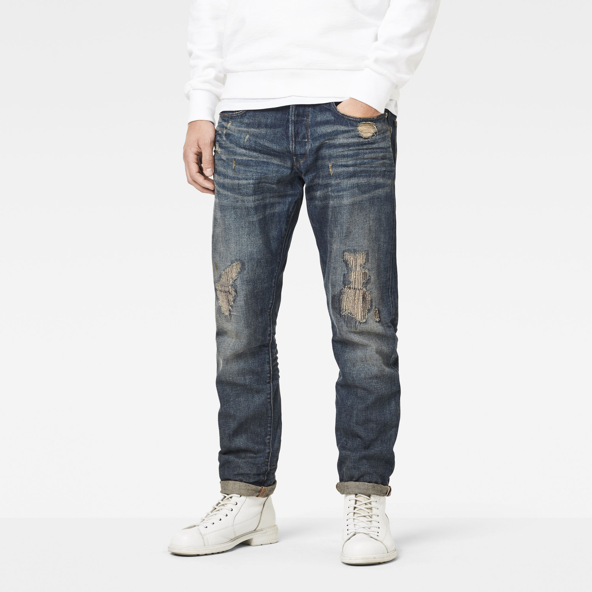3301 Red Listing Tapered Jeans