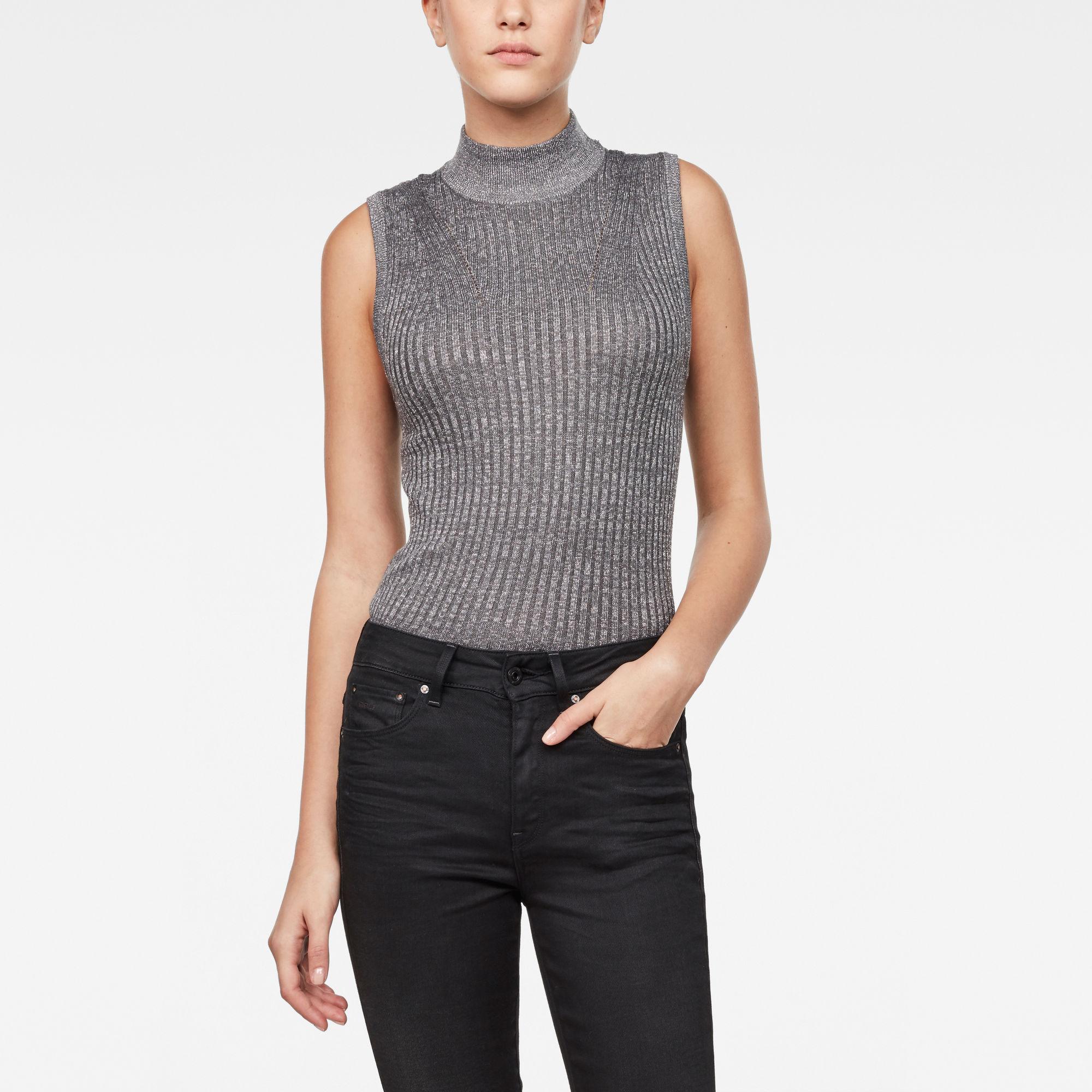 Lynn Mock-Turtle Sleeveless Knit