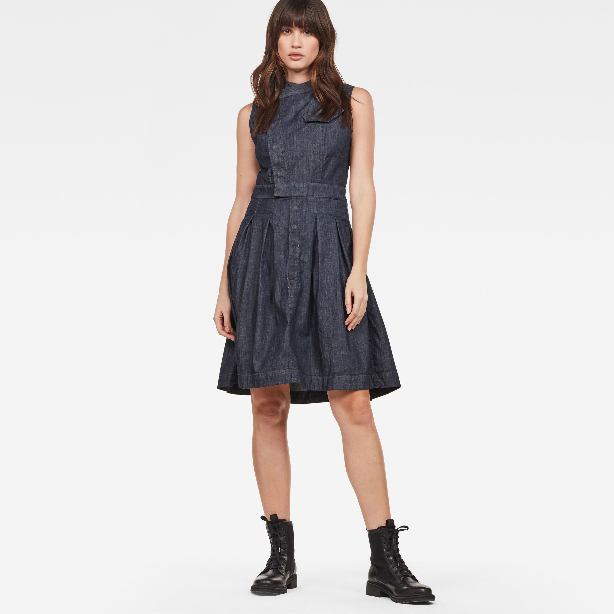 Hybrid Archive Pleated Sleeveless Shirt Dress