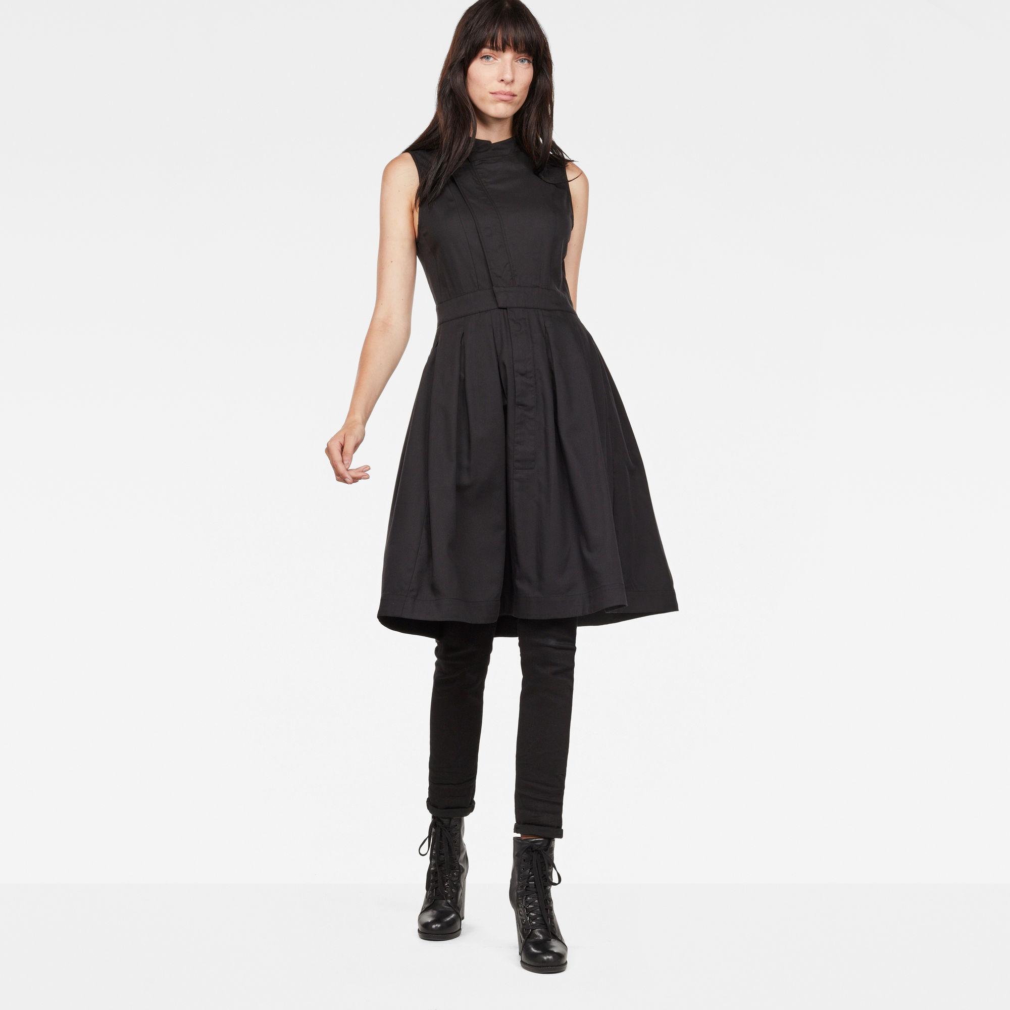 Hybrid Archive Deconstructed Pleated Sleeveless Shirt Dress
