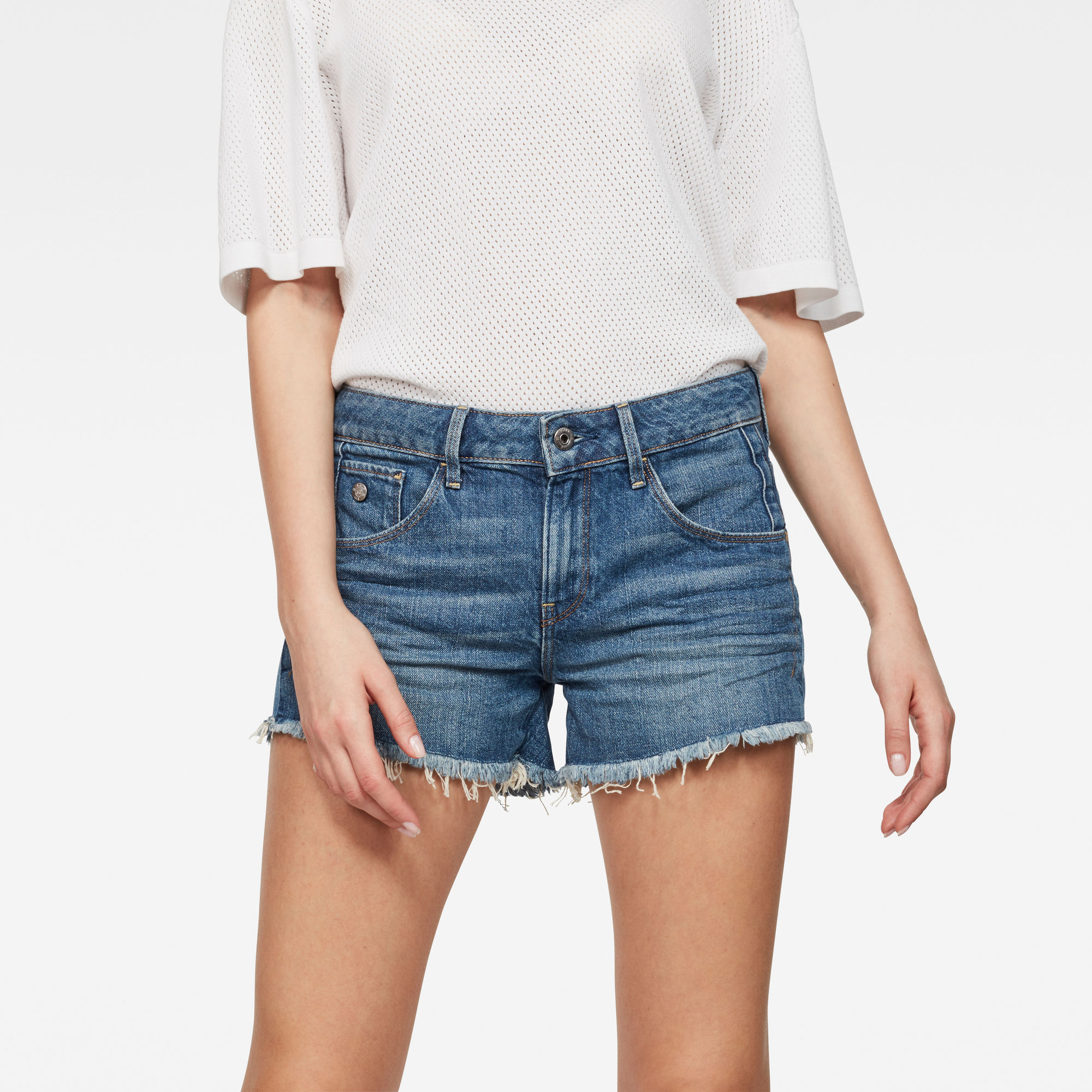 Image of Arc Mid waist Ripped Shorts