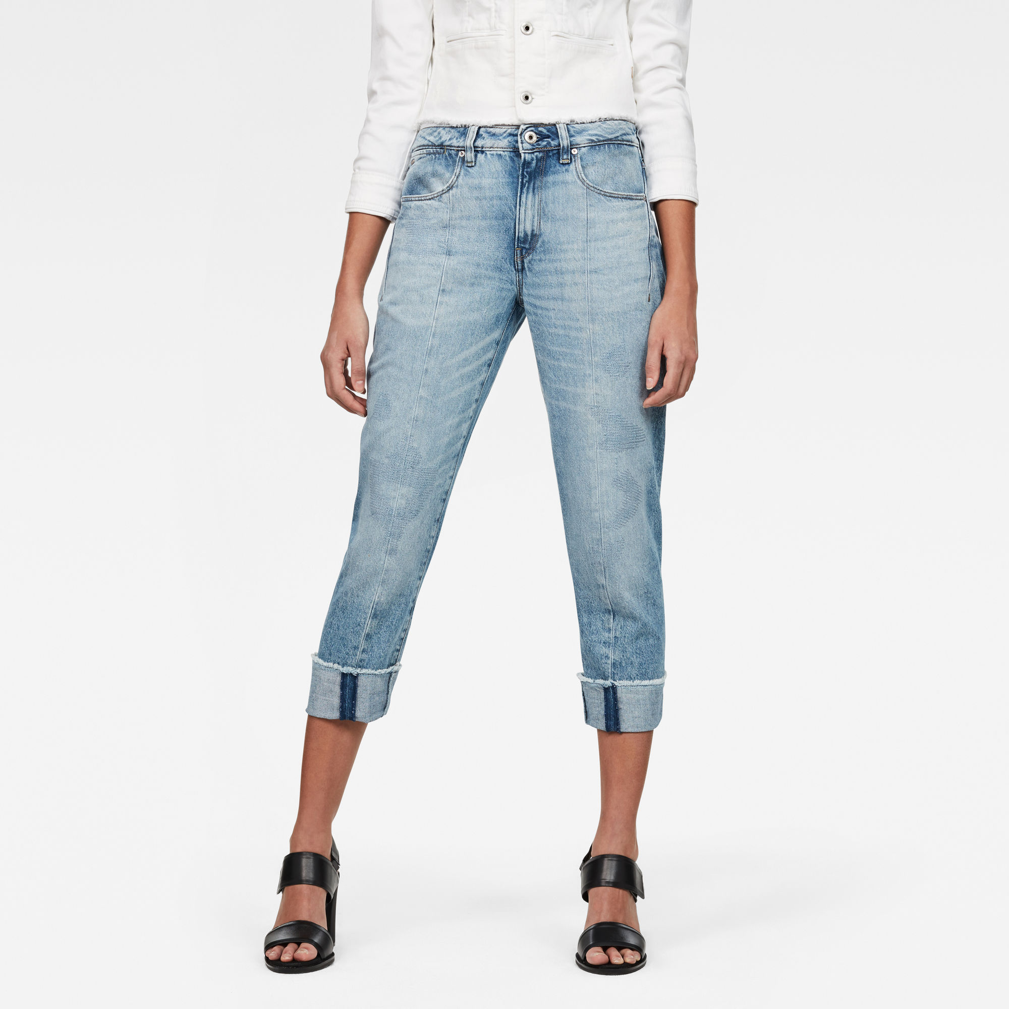 Lanc 3D High waist Straight Ripped Jeans