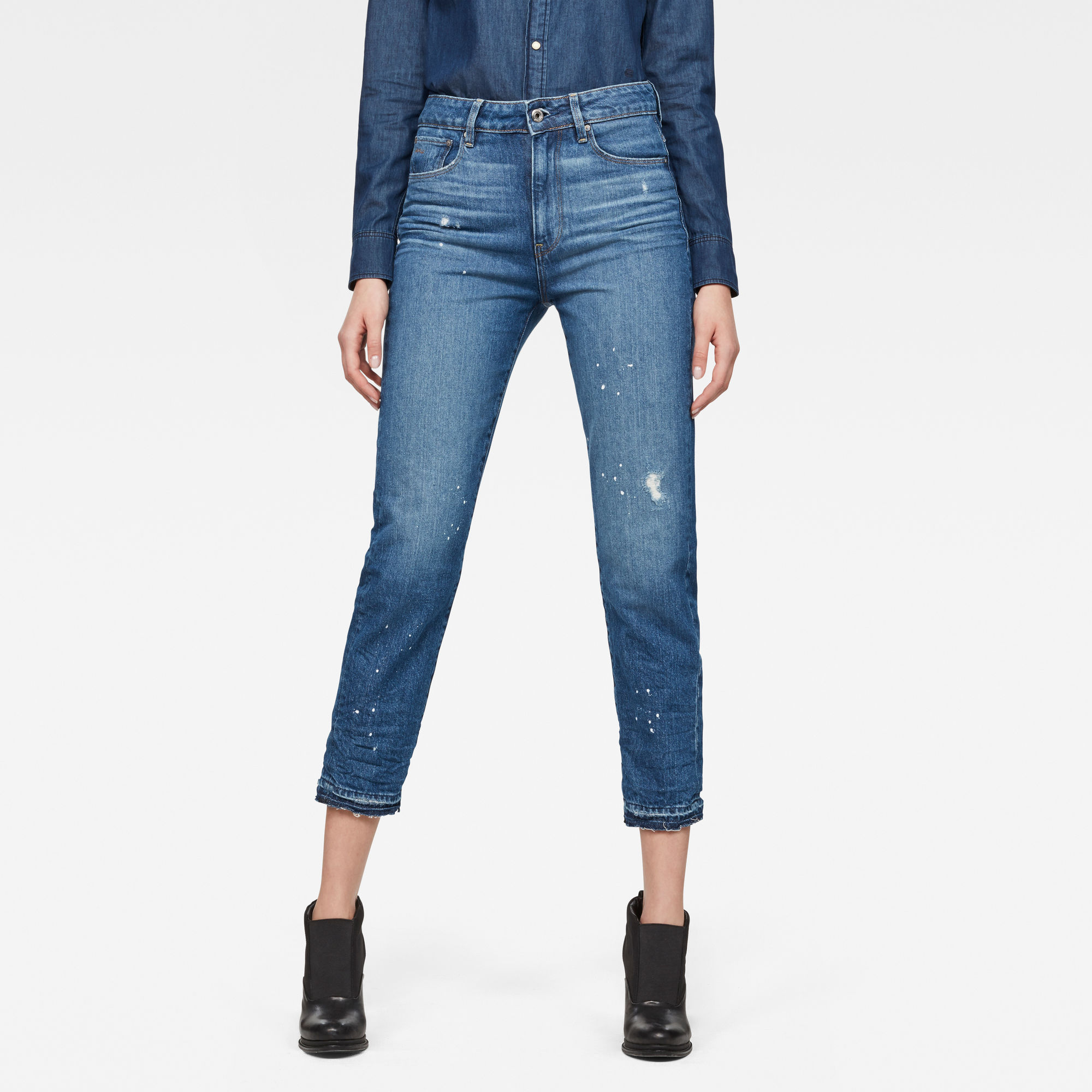 3301 Ultra High waist Straight Ripped 7 8-Length Jeans