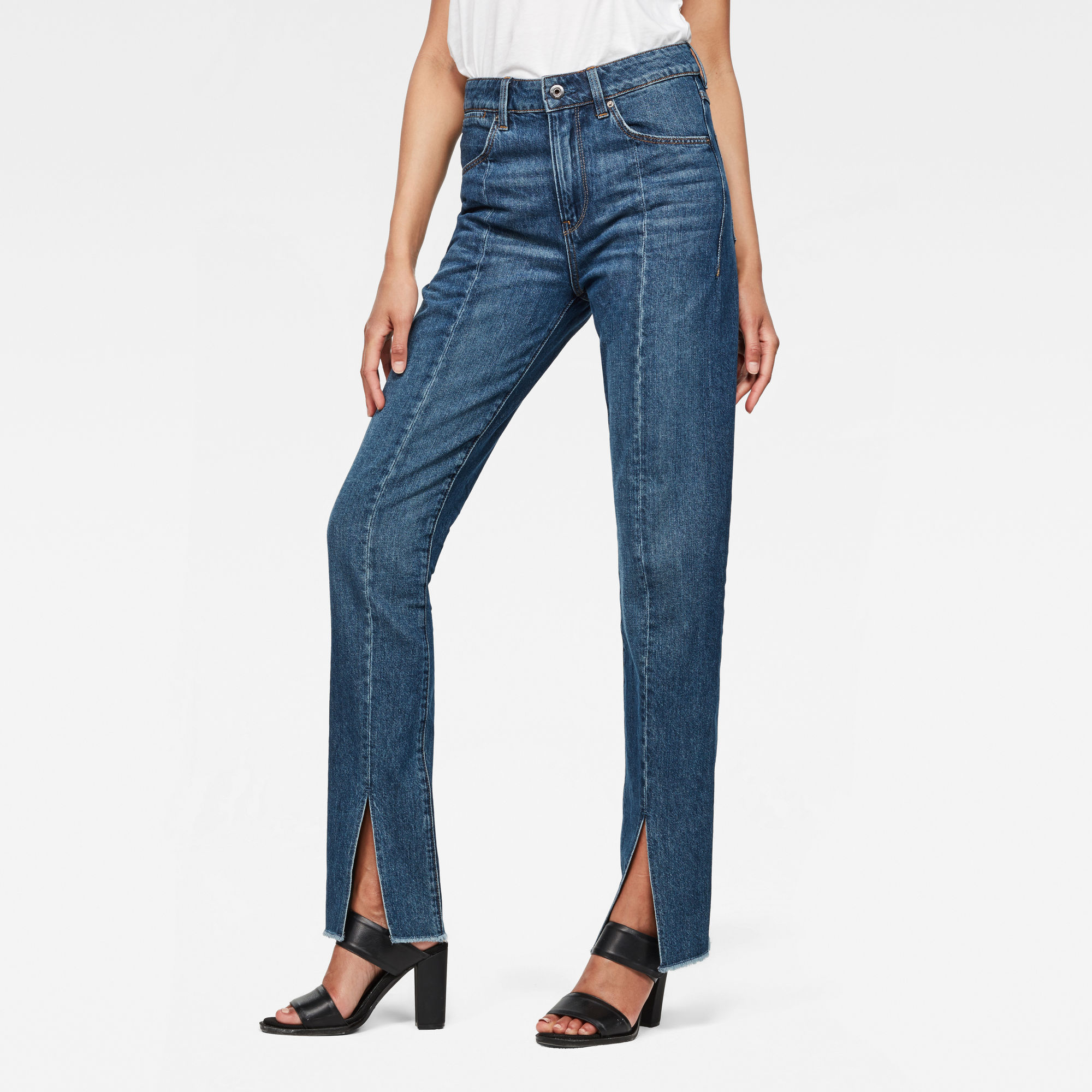 Image of G Star Raw Lanc 3D High waist Straight 90s Ripped Jeans