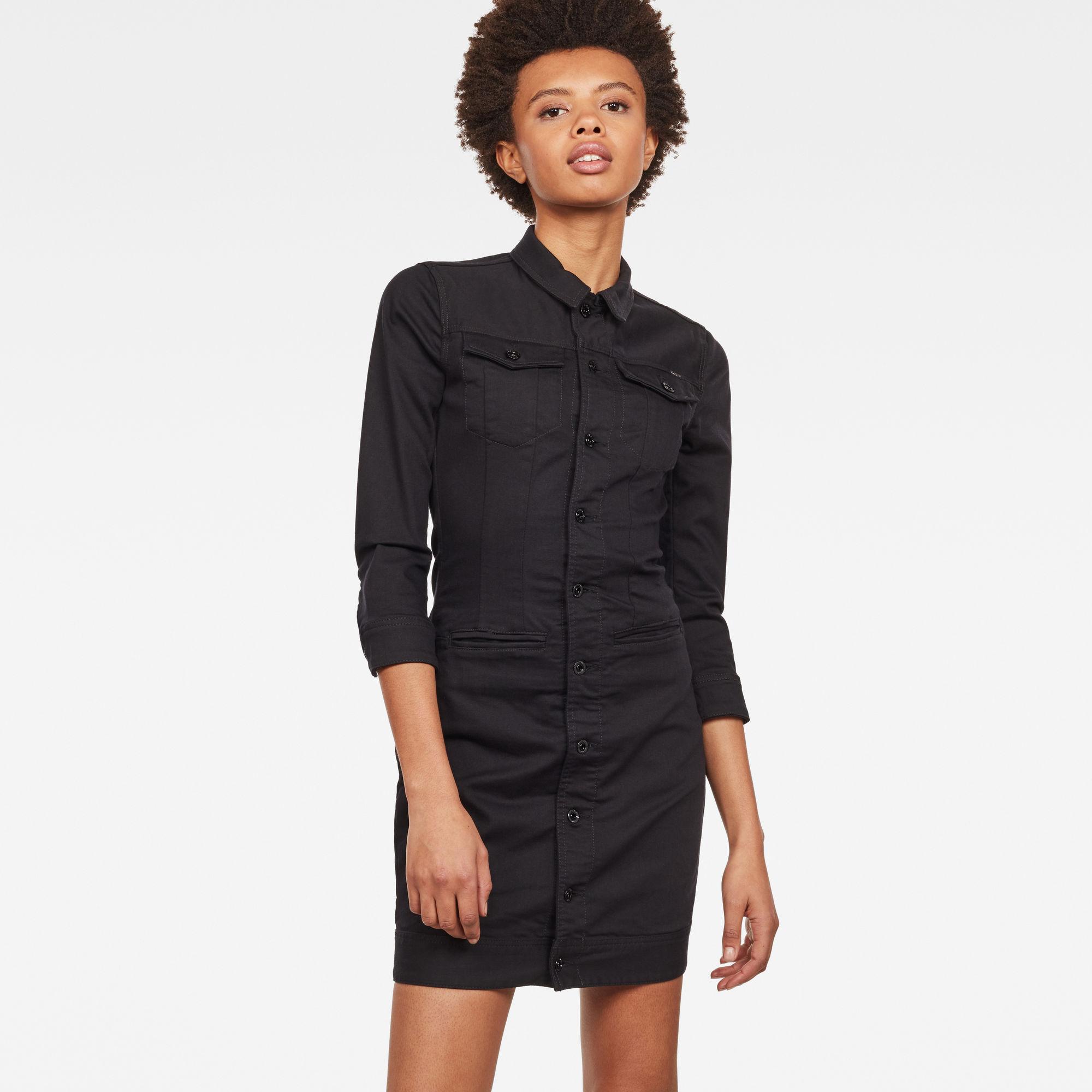 D-Staq 3 4-Sleeve Slim Denim Dress