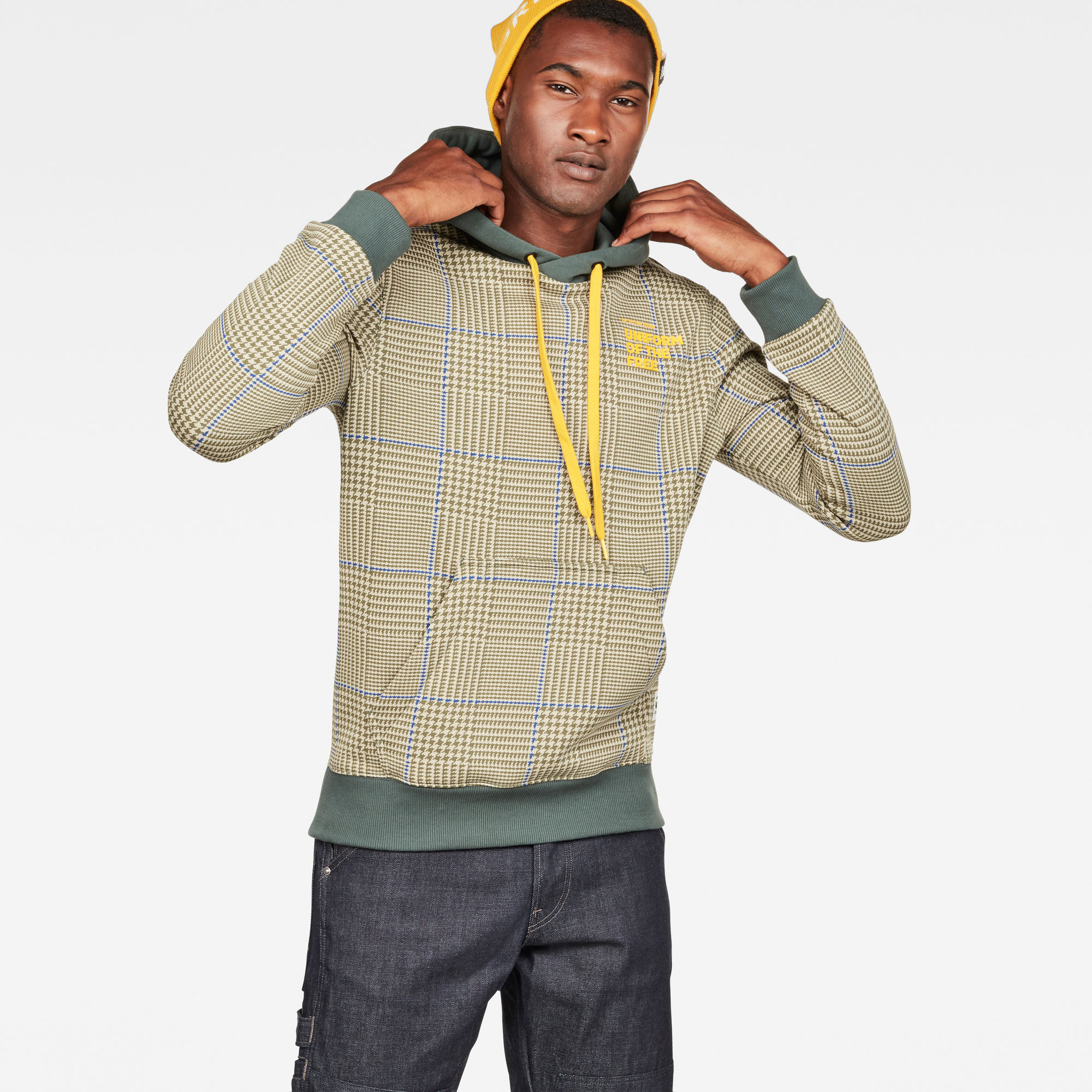 Image of G Star Raw Core Hooded Prince of Wales Check Sweat