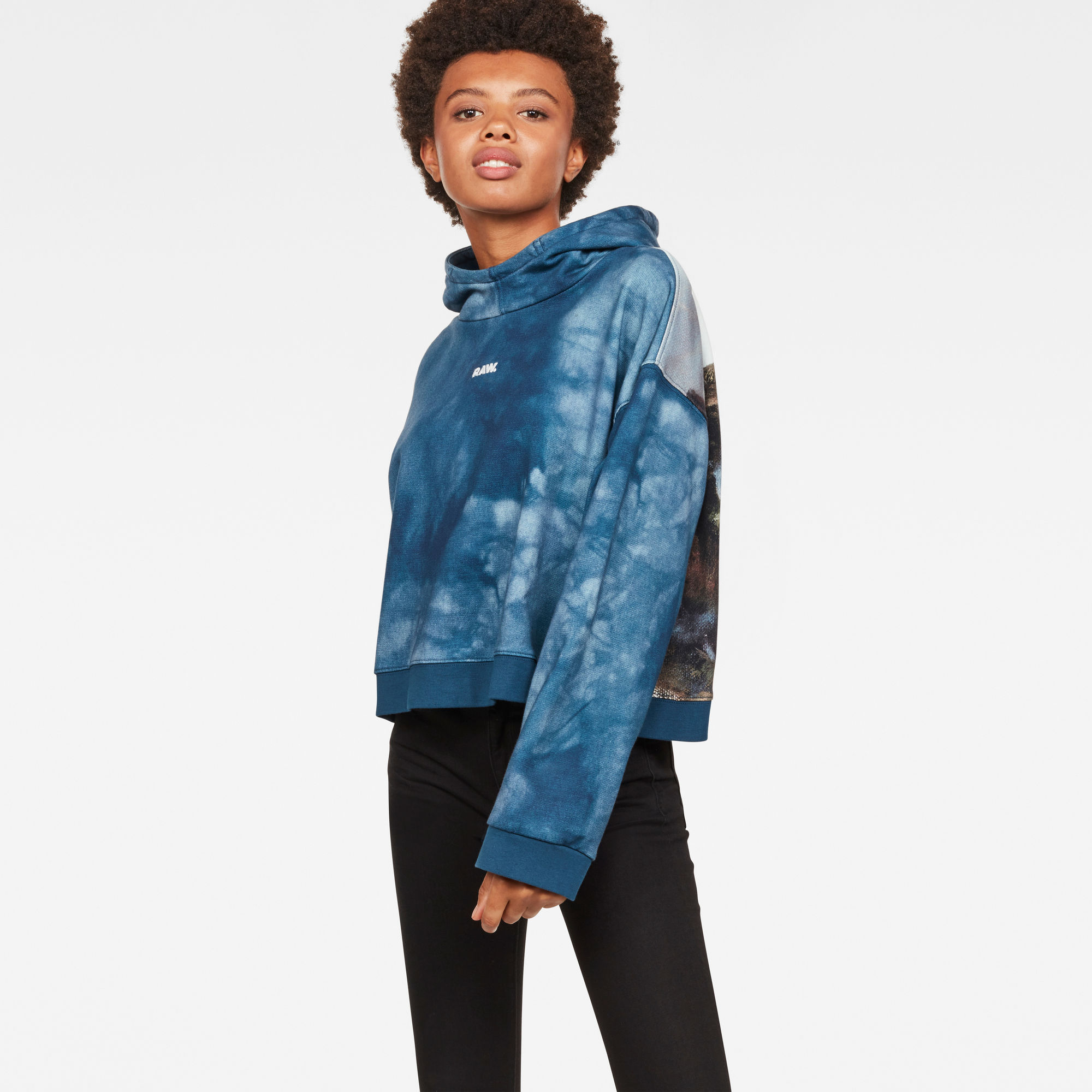 Image of G Star Raw Cheiri Water Relaxed Cropped Hooded Sweat