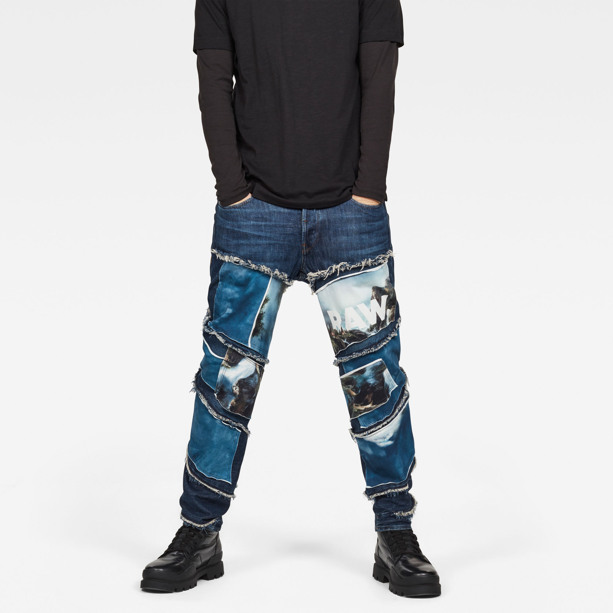 Image of G Star Raw Spiraq RFTP Patches Water 3D Slim Jeans