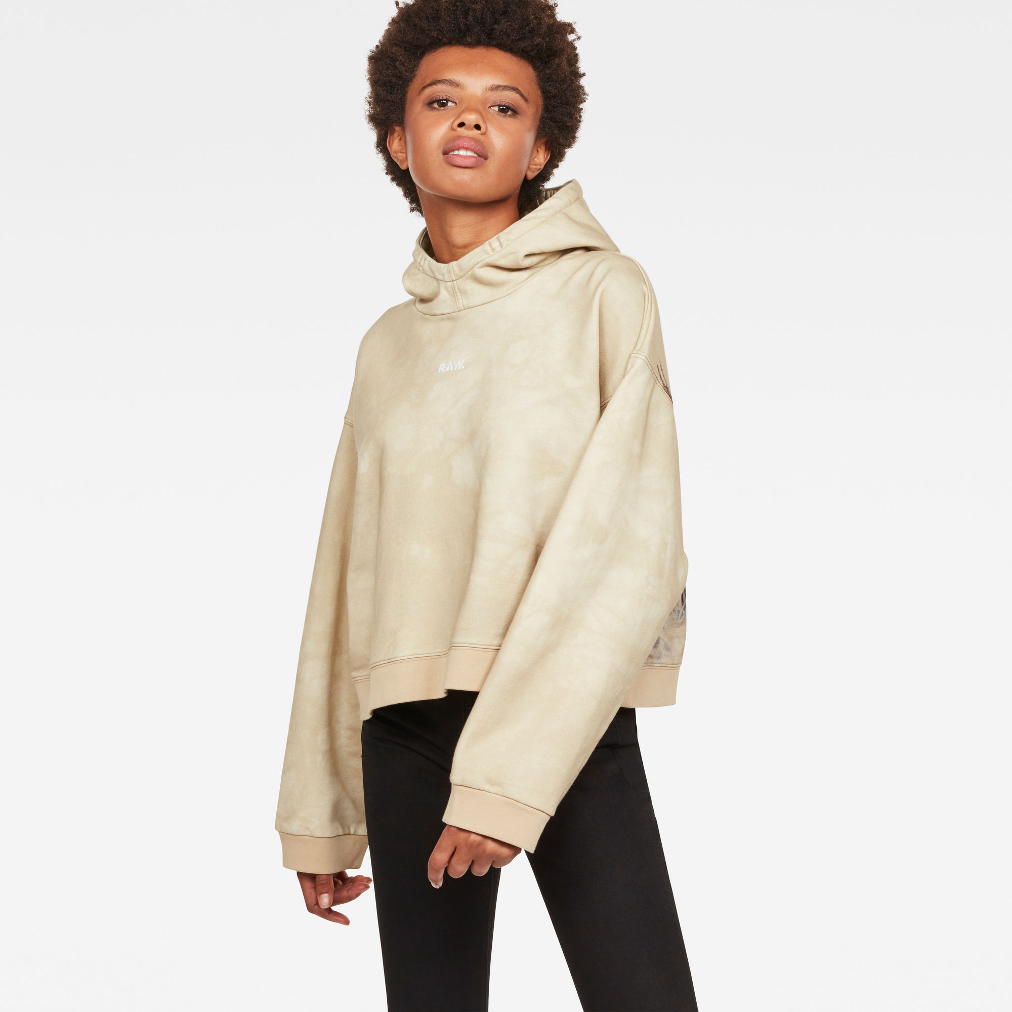 Image of G Star Raw Cheiri Earth Relaxed Cropped Hooded Sweat