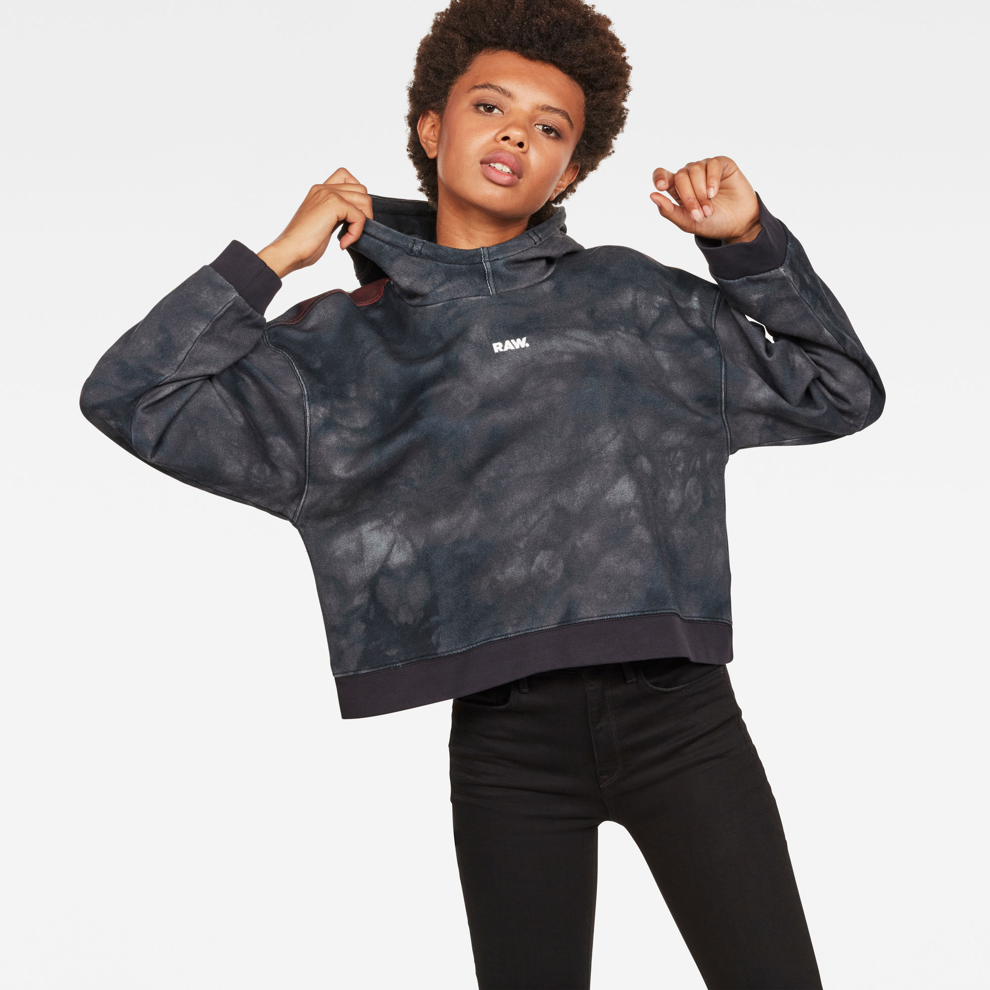Image of G Star Raw Cheiri Eclipse Relaxed Cropped Hooded Sweat