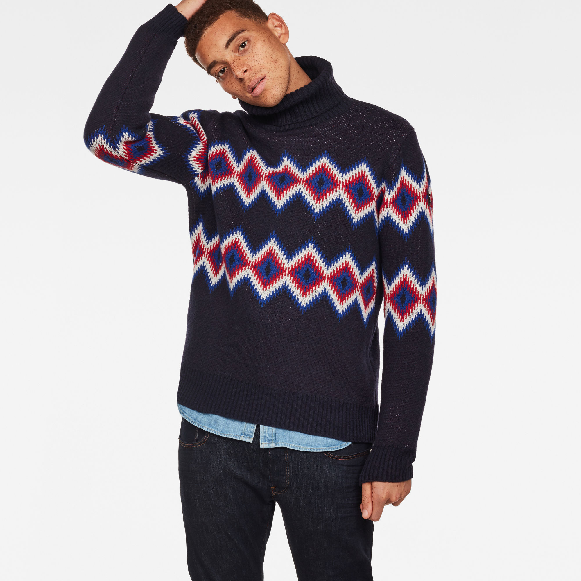 Image of G Star Raw Jayvi Diamond Jacquard Turtle Knit