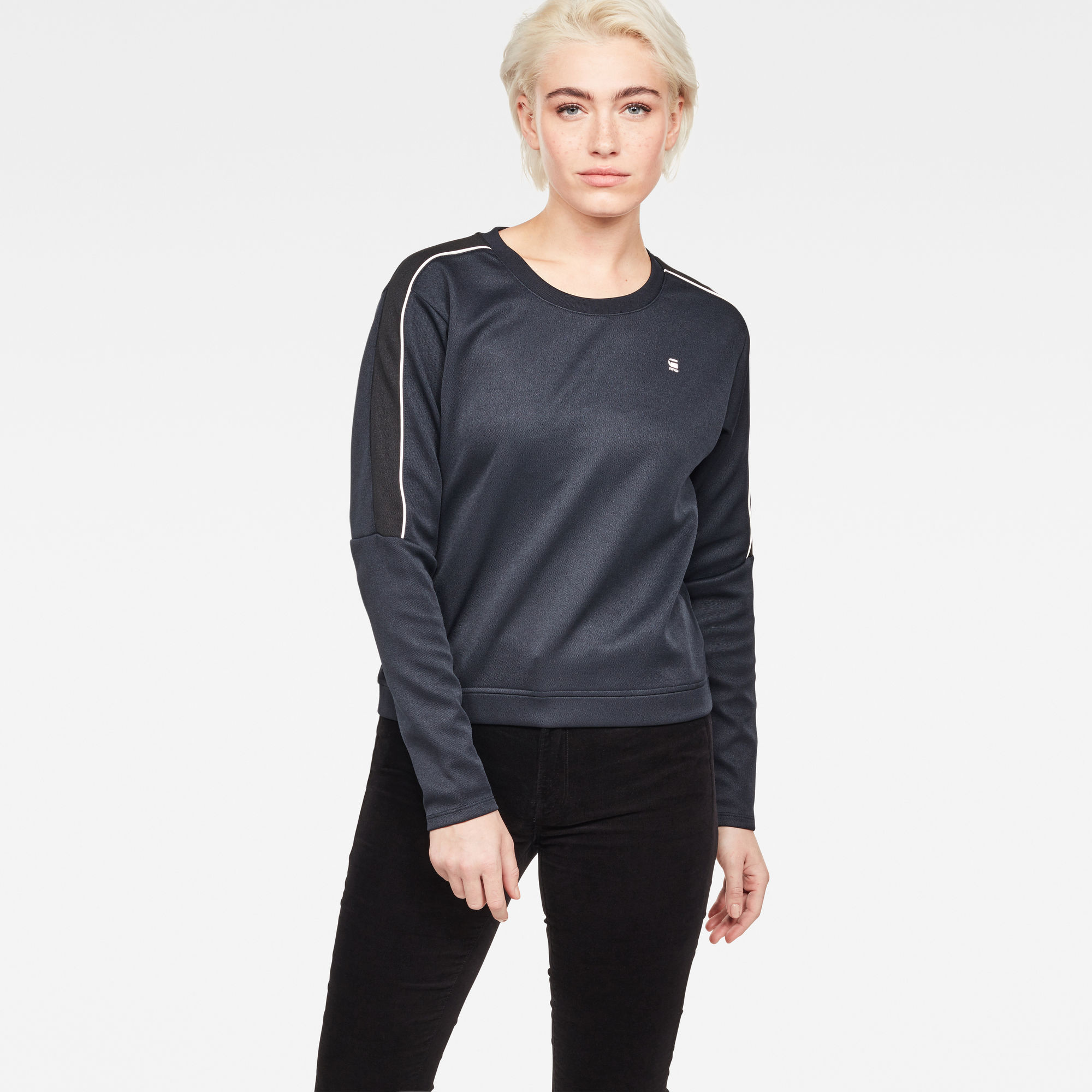 Image of G Star Raw Nostelle Stripe Cropped Sweat
