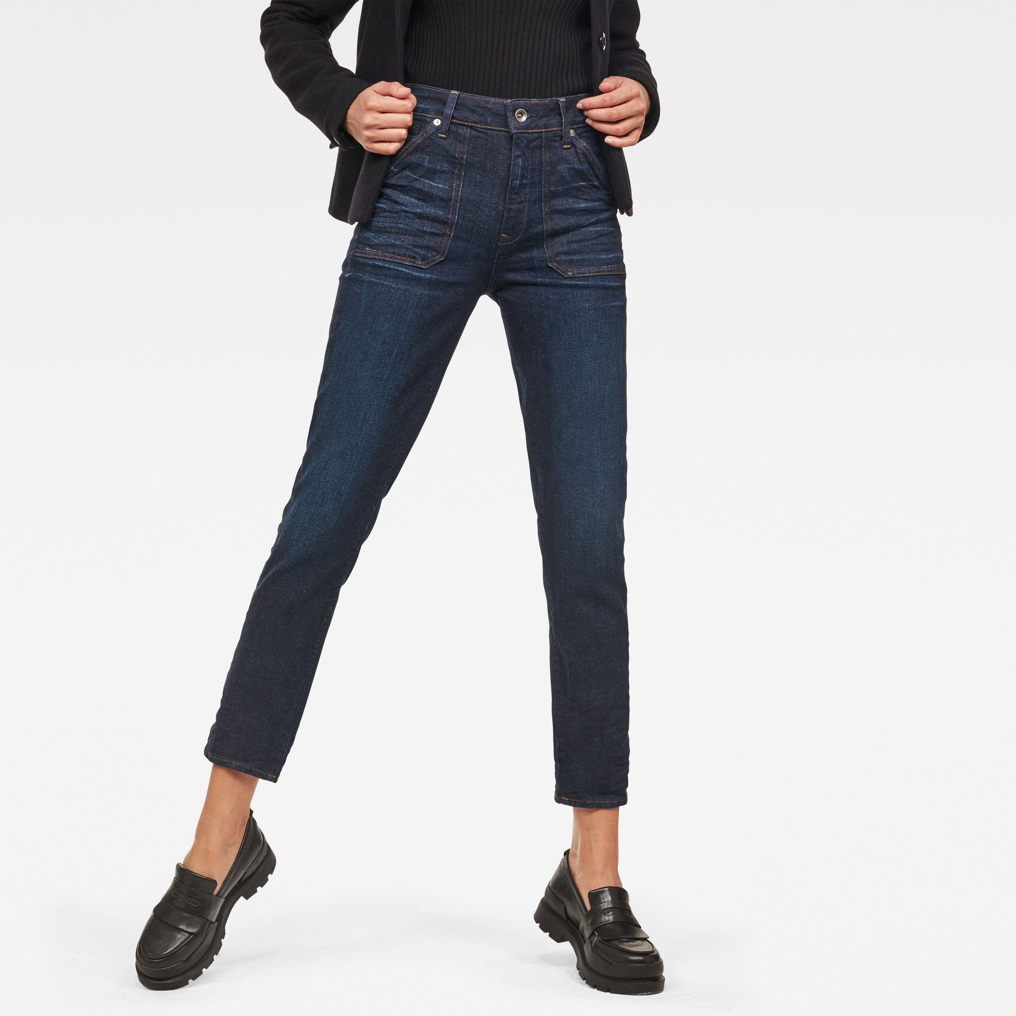 Image of G Star Raw Midge Worker High Waist Straight Ankle Jeans
