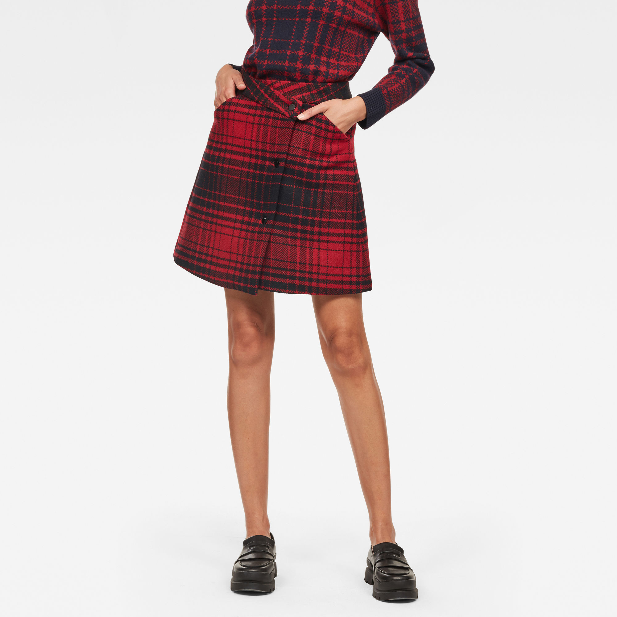 Image of G Star Raw 5621 Check Wrap Skirt